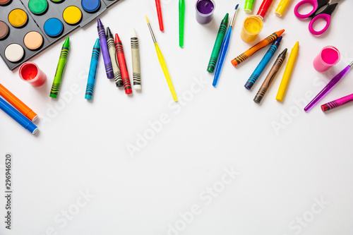 Colorful paints on white color background, top view Fototapete