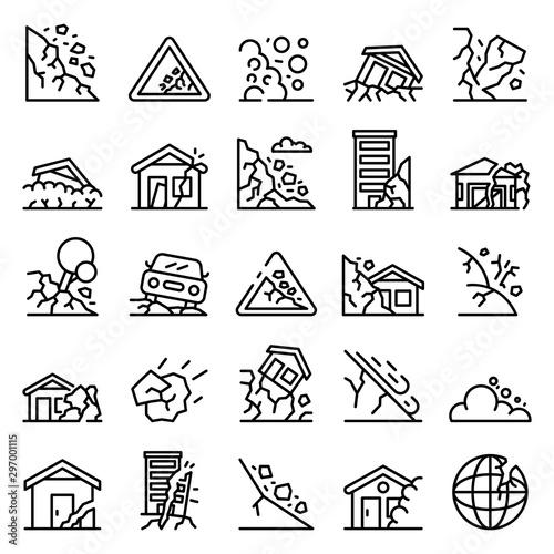 Tablou Canvas Landslide icons set
