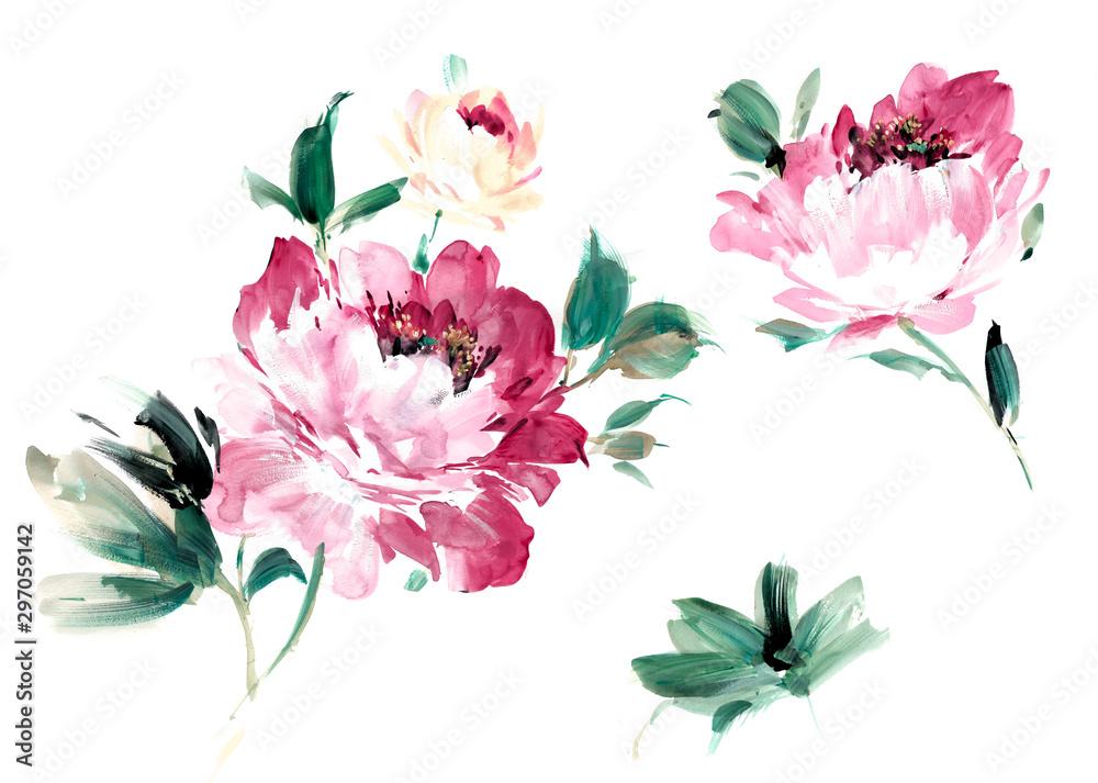 Flowers watercolor illustration.Manual composition.Big Set watercolor elements. <span>plik: #297059142 | autor: lin</span>