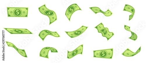 Photo Cartoon falling money bills