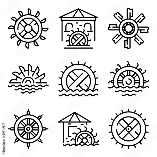 Valokuva Water mill icons set