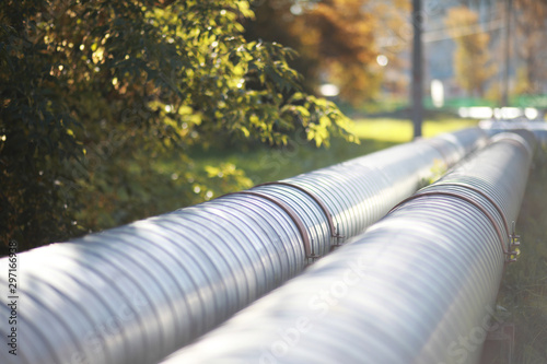 Canvas Print Industrial pipes on street construction