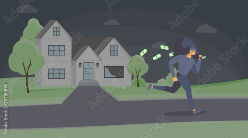 Photo Robber stealing cash flat vector illustration