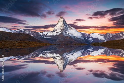 Wallpaper Mural Matterhorn peak reflected in Stellisee Lake in Zermatt, Switzerland