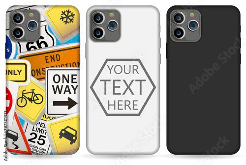 Stampa su Tela phone case mockup template illustration (white/black).
