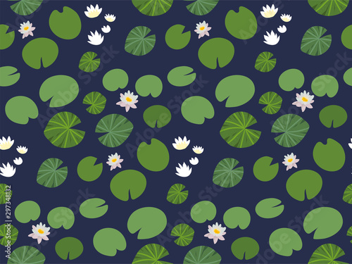 Carta da parati Seamless pattern with little green Lily pads and white Lotus flowers on a dark background