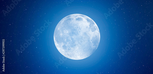 Blue full moon against milky way galaxy Elements of this image furnished by NAS Fototapet