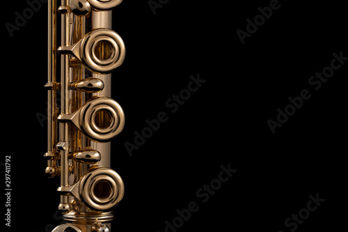 Canvas-taulu A part of a gold plated flute on a black background