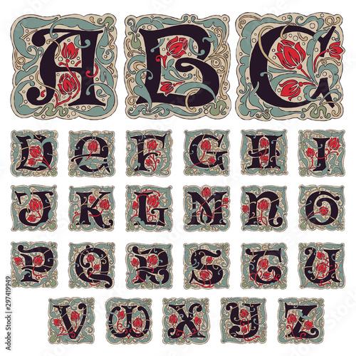 Antique gothic alphabet letters in vintage colors.