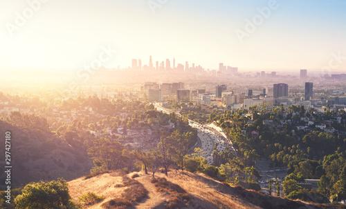 Obraz na płótnie Los Angeles at foggy sunrise