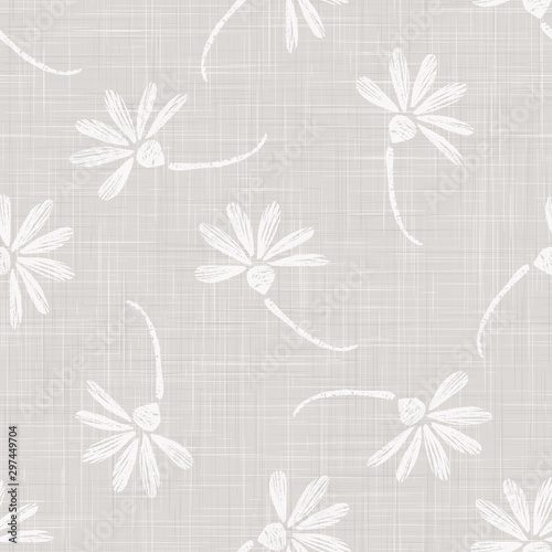 Fényképezés Gray French Linen Texture Background printed with White Daisy Flower