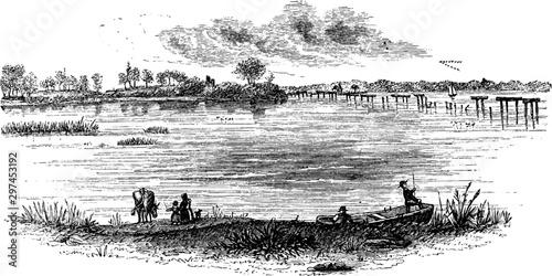 Canvas-taulu The Landing at Jamestown,vintage illustration