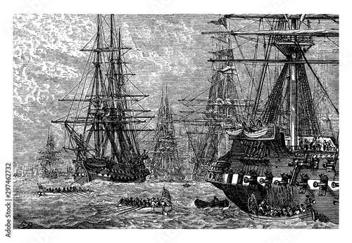 Tableau sur Toile The British Fleet in the Lower Bay,vintage illustration