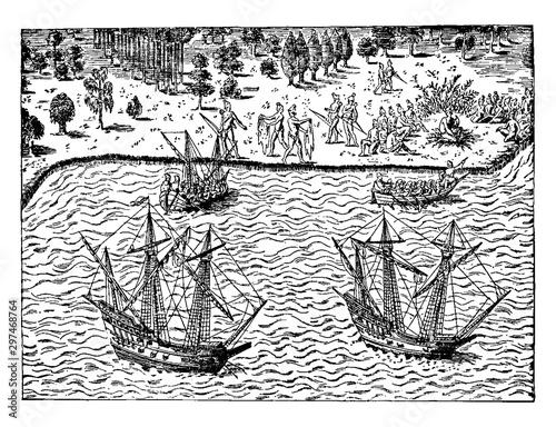 The Huguenots - The Landing of John Ribault,vintage illustration. Fototapeta