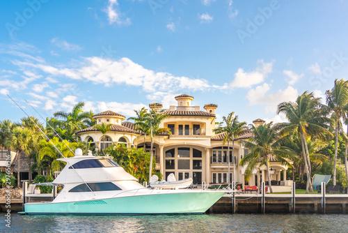 Fotografia, Obraz Luxury Waterfront Mansion in Fort Lauderdale Florida
