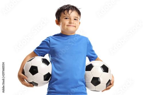 Fotomural Boy holding two soccer balls