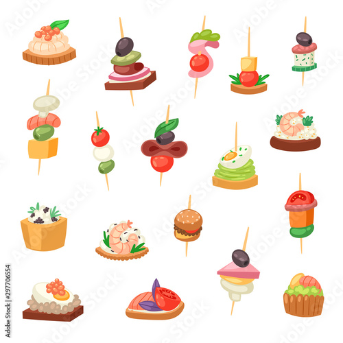 Obraz na plátne Appetizer vector appetizing food and snack meal starter canape appetiser sandwic