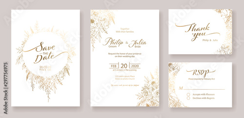 Fototapeta Gold Wedding Invitation, save the date, thank you, rsvp card Design template
