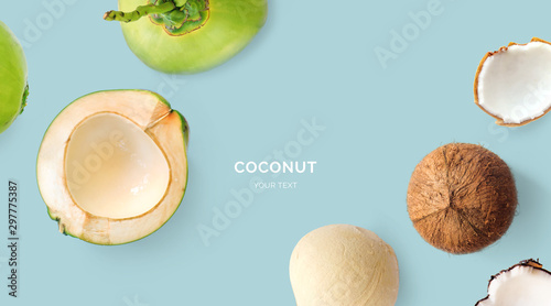 Fotografia Creative layout made of coconuts