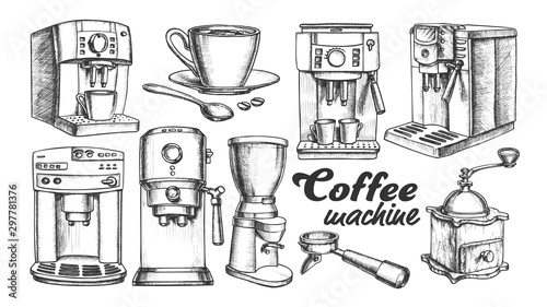 Fotografija Coffee Machine, Holder And Cup Retro Set Vector