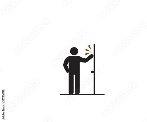 Leinwand Poster Please knock door, Accident Prevention signs, beware and careful rhombus Sign, warning symbol, vector illustration