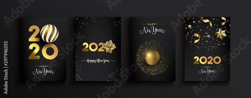 Fotografia Happy New Year 2020 gold 3d elegant card set