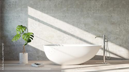 Fotografiet White  bath tub standing in a modern bathroom