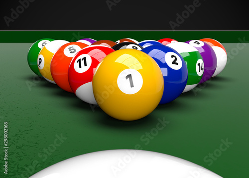 American Pool Billiards Balls Table Set Up 3D Render Fototapeta