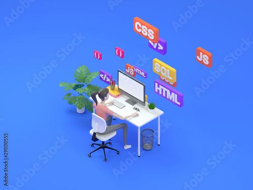 Fotografie, Obraz Female frontend developer sitting at a table in the modern office