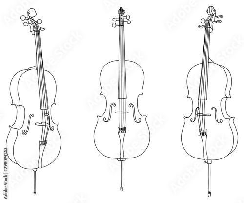 Foto Classic cello vector isolated on white background, different angles