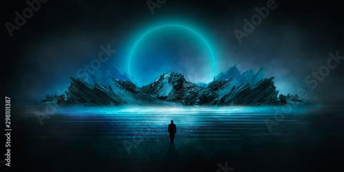 Fototapeta premium Nowoczesny futurystyczny neon abstrakcyjne tło. Duży obiekt w centrum, tło kosmiczne. Ciemna scena z neonem. Odbicie światła na mokrej nawierzchni.
