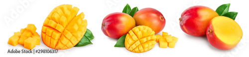 Mango fruit half with leaves and slices isolated on white background close-up. Set or collection
