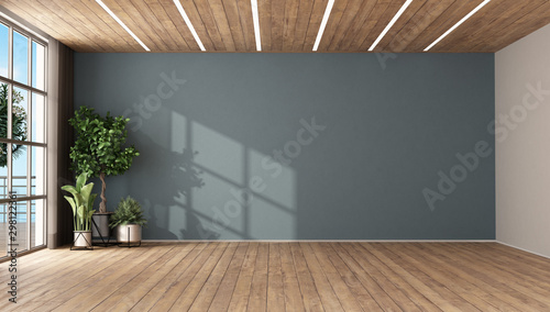 Canvas Print Empty room with plants and blue wall