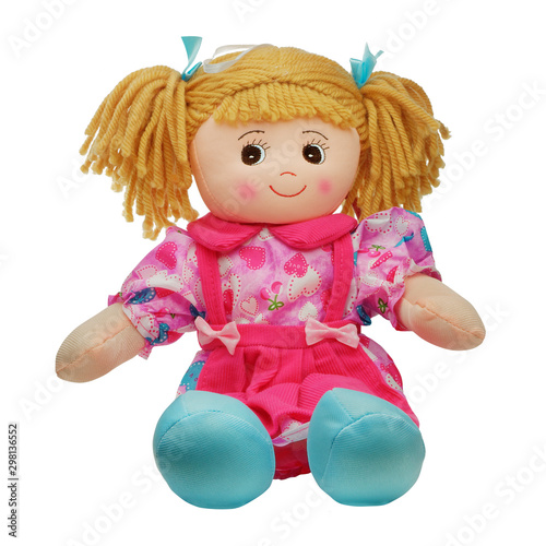 Canvastavla Sit cute smiling pretty rag doll isolated on white