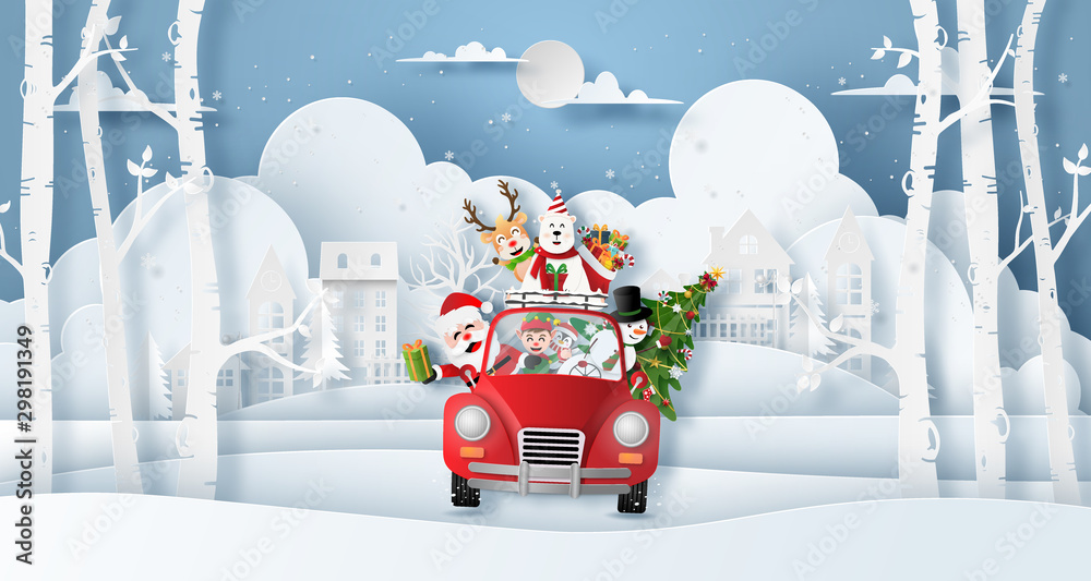 Origami paper art style, Christmas red car with Santa Claus and friend in the village, Merry Christmas and Happy New Year <span>plik: #298191349   autor: NuTz</span>