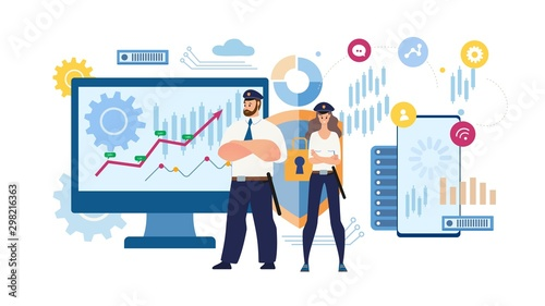 Photo Financial Data Protection Flat Vector Concept
