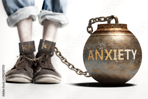 Anxiety can be a big weight and a burden with negative influence - Anxiety role Fototapeta