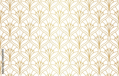 Seamless Arabesque Floral Pattern. Art Deco Style Background. Vector Abstract...