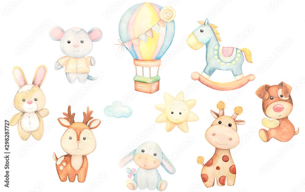 Zestaw akwarela zabawek. Ilustracja dla dzieci. <span>plik: #298287727 | autor: Natalia</span>