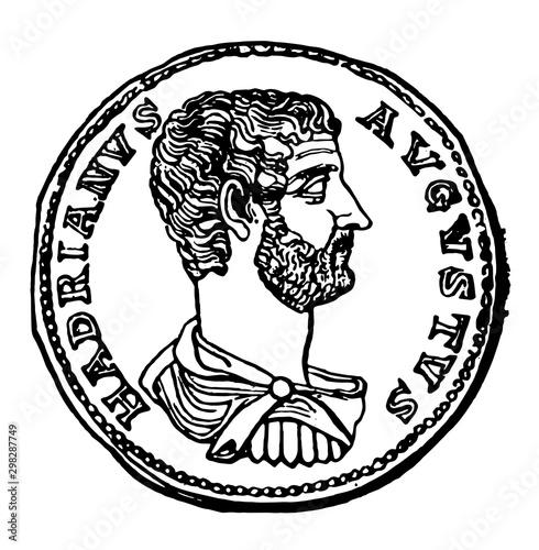 Valokuva Hadrian, Coin of vintage illustration.