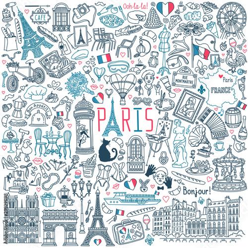 Fotografie, Obraz Paris doodle set