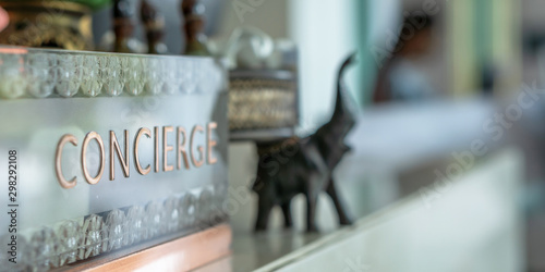 Obraz na plátně Concierge service counter of hotel, restaurant or apartment's front desk in luxu