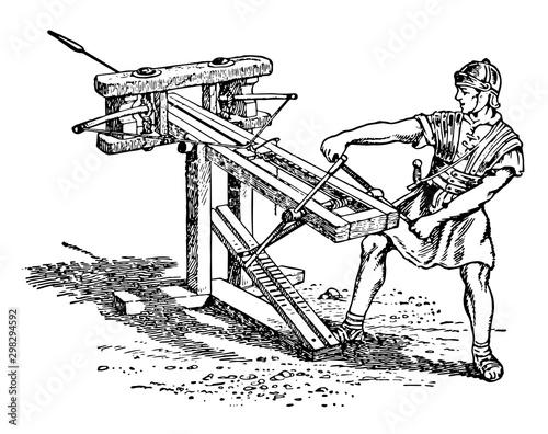 Stampa su Tela A Catapult vintage illustration.
