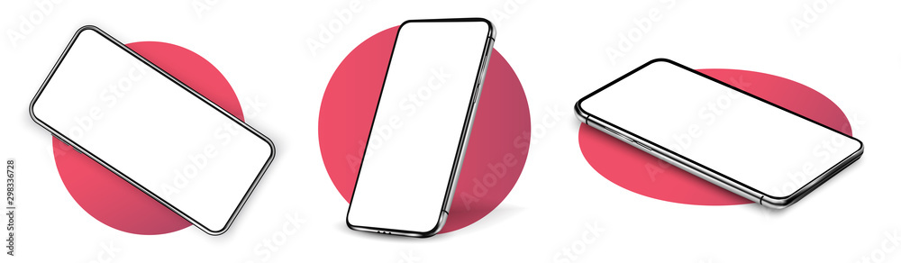 Wall mural Smartphone frame less blank screen, rotated position. Smartphone from different angles. Mockup generic device. UI/UX smartphones set. Template for infographics or presentation 3D realistic phones.