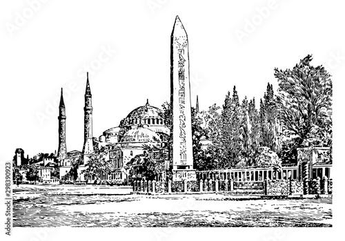 Obraz na płótnie Constantinople,  the capital city of the Roman, vintage engraving