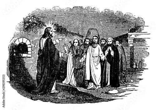 Fotografia, Obraz Jesus Speaks to Ten Lepers vintage illustration.