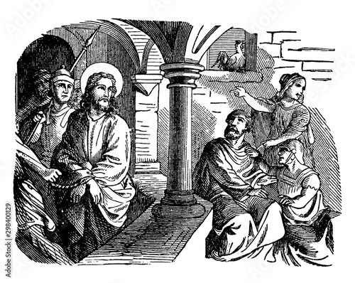 Fototapeta The Denial of Peter - Jesus Looks at Peter in the Courtyard vintage illustration