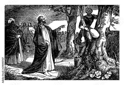 Jesus Speaks to Zacchaeus the Tax Collector vintage illustration. Fototapeta