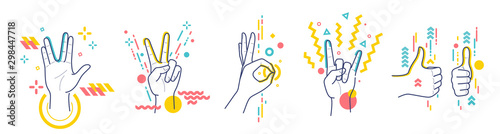 Fotografia Gestures showing positive emotions: victory, recommendations, rock, greeting, approx