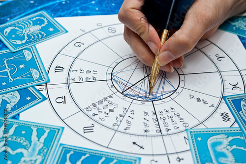 Murais de parede astrologer fortune teller with quill pen, horoscope, zodiac like astrology conce